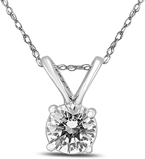 AGS Certified 14K White Gold 1/3 Carat Diamond Solitaire Pendant