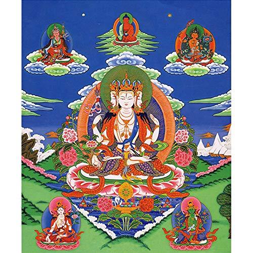 GuoQiang Zhou Pinturas para colgar en el porche tibetano budista de Tangka para el hogar y la residencia, pinturas decorativas de color: libre, tamaño (pulgadas): 30 x 36 cm, sin marco