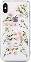 iPhone 7/8 Real Flower Case, Shinymore Girls Floral Glitter Case Clear Soft Rubber Pressed Dried Flowers Cover for iPhone 8/iPhone 7-Pink