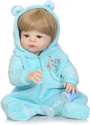 flybuild 22 Zoll handgemachte lebensechte Neugeborene Baby Doll Imitation Vinyl Silikon Reborn Spielzeug braun Eyes