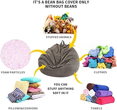 Nobildonna Bean Bag Chair Cover (No Filler) for Kids and Adults. Extra Large 300L Beanbag Stuffed Animal Storage Soft Premium