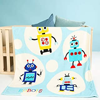 i-baby Large Baby Blanket Cozy Toddler Blanket Soft Nursery Crib Blanket Warm Kids Blanket (Hello Robot, 39 x 47 Inch)