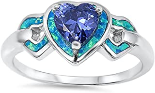 Lab Created Blue Opal & Simulated Tanzanite Heart .925 Sterling Silver Ring Sizes 4-10