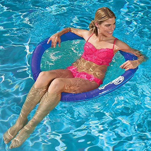 Swimways - Poltroncina Galleggiante Gonfiabile - materassino Mare - Poltrona Piscina Tonda - Lettino con Rete - per Adulti - Vari Colori