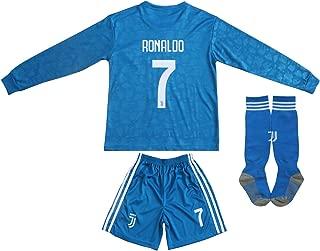 2018/2019 New #7 Cristiano Ronaldo Kids Away Long Sleeve Soccer Jersey & Shorts Youth Sizes
