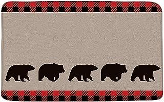 LIVEFUN Black Bear Plaid Bath Mat Woodland Camping Cabin Wildlife Bear Silhouettes Red Black Buffalo Check Vintage Farm Ru...