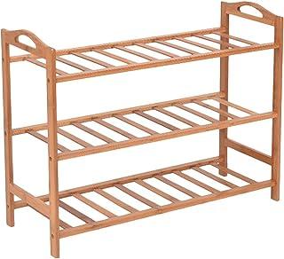 HOKIPO 3 Tier Bamboo Shoe Racks Storage Organizer, 53 x 65 x 26 cm, Brown