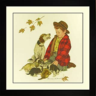 Norman Rockwell PUPPY - LOVE'S LITTLE TREASURES Framed Boy Puppies Dog Wall Hanging Art Gift
