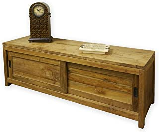 Aparador antiguo de madera de teca maciza estilo rústico sin tratar/natural (2947)