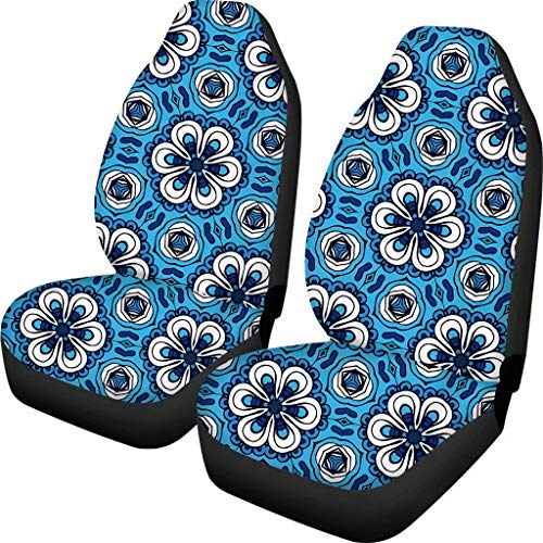 FOR U DESIGNS Car Seat Covers Set of 2 Bucket Seats Protector Cushion Mat Automotive Accessories Decor Blue Floral Pattern for Women Minnesota