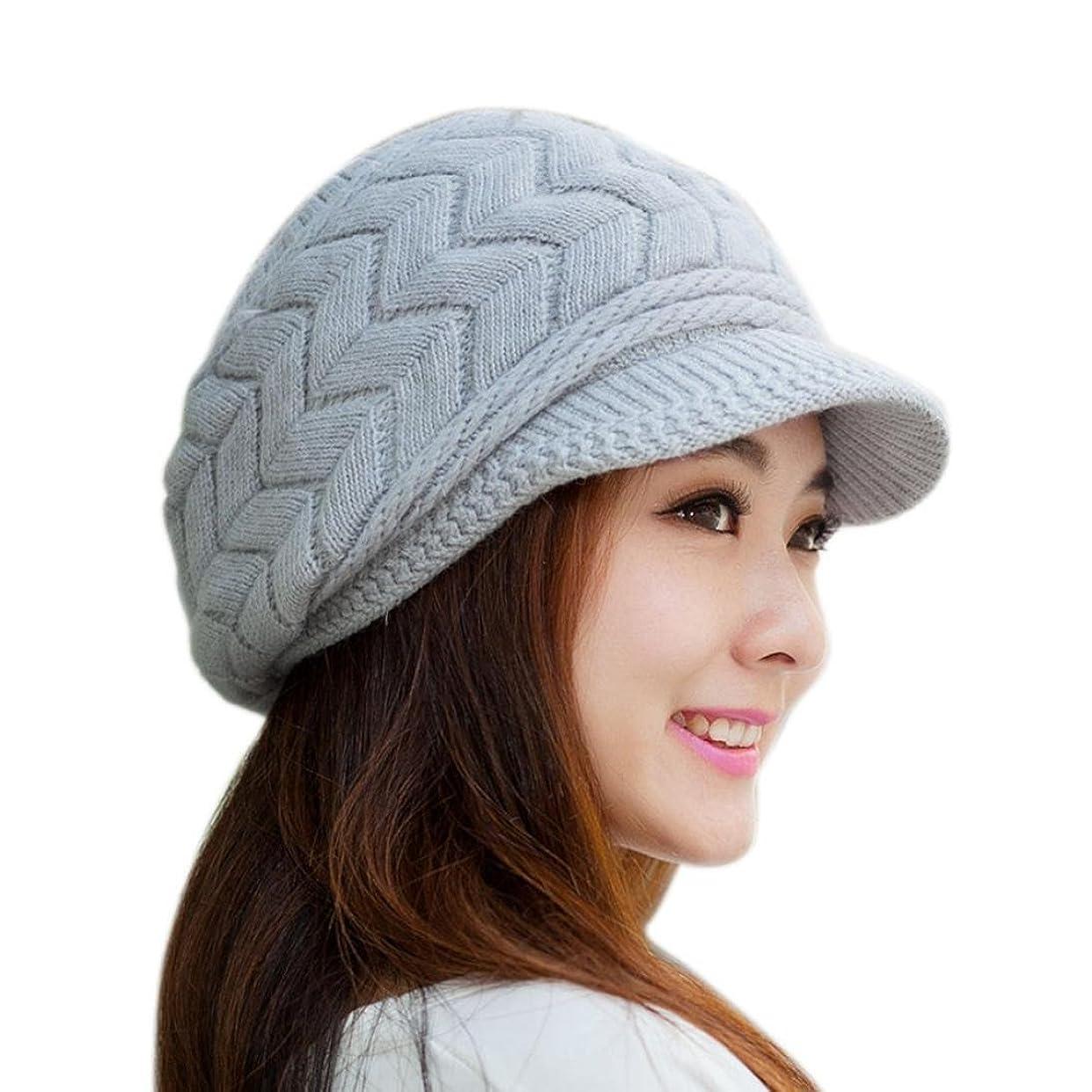 農村代わりにスタジオSiniaoファッションレディース帽子冬Skulliesビーニーニットハットウサギファーキャップ(グレー)