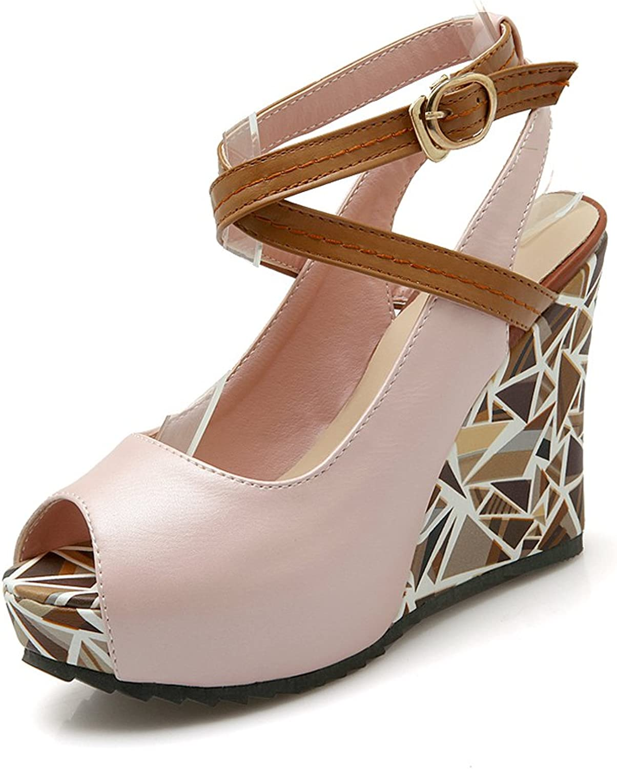 DoraTasia Sexy Peep Toe Mixed color Ankle Wrap Buckle up Geometric Pattern Pumps shoes