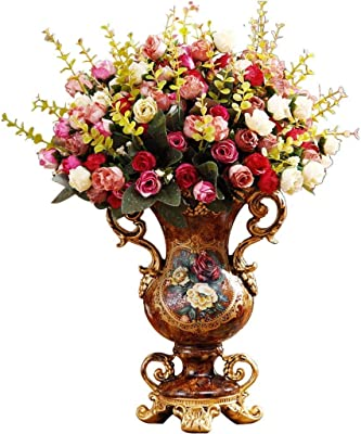 Amazon Com Colom Flower Vases Home Decorations European Style Dried Flower Bottle Vase Decoration American Home Decor Large Jar For Living Room Dining Table Porch Decoration Table Top Wedding Flower Arrangement Home