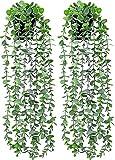 ZENMAG Plantas Artificiales Colgantes,Decoración con Hiedra Falsa,Juego de 2 Plantas Artificiales de eucalipto para la decoración del hogar Estética del Dormitorio Interior