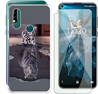 Oukitel C17 Pro Case + Tempered Glass Screen Protector - HHUAN Flexible Soft Semi-Transparent TPU Tiger and cat Shell Silicone Gel Protective Case Bumper Cover for Oukitel C17 Pro (6.35