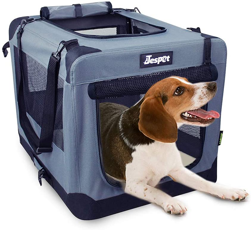 """JESPET Soft Pet Crates Kennel 26"""", 30"""" & 36"""", 3 Door Soft Sided Folding Travel Pet Carrier with Straps and Fleece Mat for Dogs, Cats, Rabbits, Indoor/Outdoor Use with Grey, Blue & Beige, Black"""
