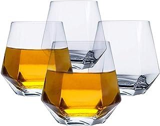 Tebery Glassware 4 Stück Diamant-Whiskey-Gläser, leicht, luxuriös, 313 ml, geometrisches Weinglas für Wasser, Cocktails, Whiskey, Bourbon