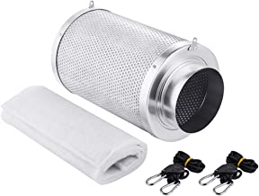 Growtent Garden 6 inch Air Carbon Filter Odor Controler Filled by Australia Virgin Charcoal with Reversible Flange for Inline Fan, Prefilter Included