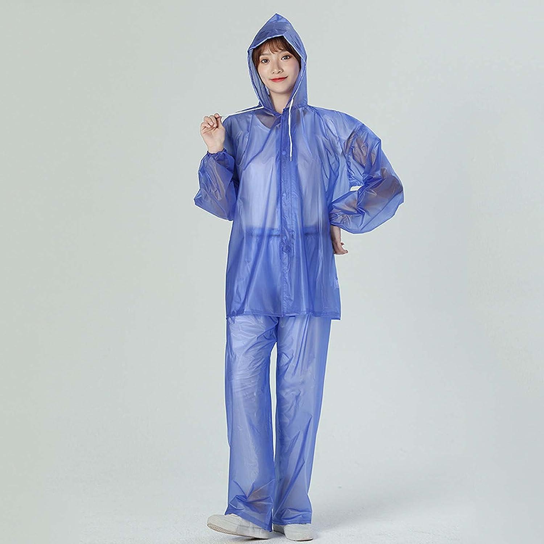 FHGH Transparent Split Raincoat, PVC Sea Glue Adult Hooded Rainsuit, for Outdoor Cycling, Camping, Hiking, Etc,D,Medium