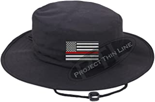 Embroidered Thin RED Line Subdued American Flag Boonie Adjustable Hat