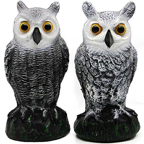 Hausse 2 Pack Bird Scarecrow Fake Horned Owl Decoy, Nature Enemy Pest Repellent for Outdoor Garden Yard