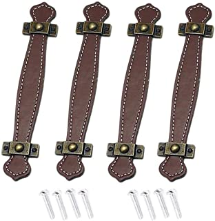 Leder Supvox 2 St/¨/¹ck Leder Schubladengriffe Vintage Pull Griffe Leder Koffer Griffe Leder Schublade Schrank T/¨/¹r Griff Hellbraun Schwarz M