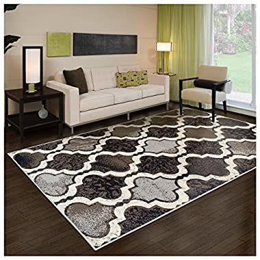 Superior Modern Viking Collection Area Rug, 8mm Pile Height with Jute Backing, Chic Textured Geometric Trellis Pattern, Anti-Static, Water-Repellent Rugs - Chocolate, 3' x 5' Rug