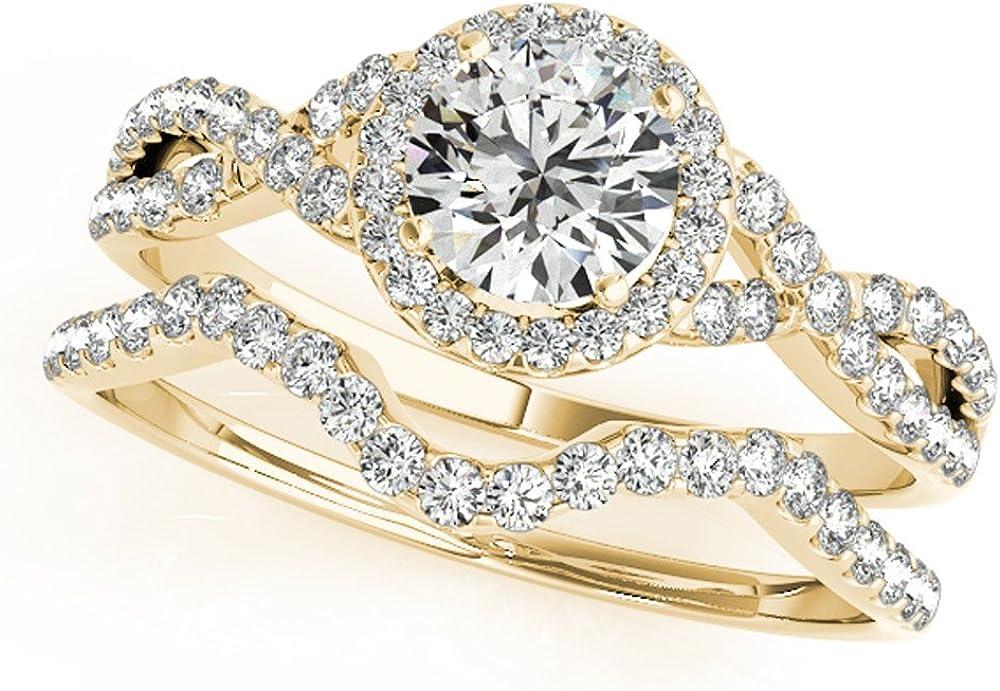 JewelMore 1 2 Max 74% OFF Carat Halo Diamond Engagement Ring Superior Bridal 14K Set