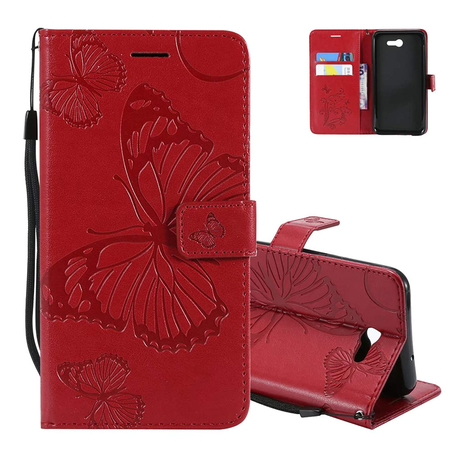 Wallet Flip Case Samsung Galaxy J7 V/J7 Perx/J7 Sky Pro/J7 Prime S727VL Wrist Strap Card Holder Aeeque Slim Fit Embossed Butterfly PU Leather Phone Case Cover Galaxy J7 2017, Red