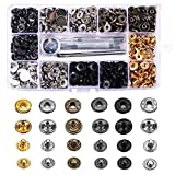 120 Sets Snap Fastener Kit Button Tool, MSDADA Leather Snap Buttons Press Studs