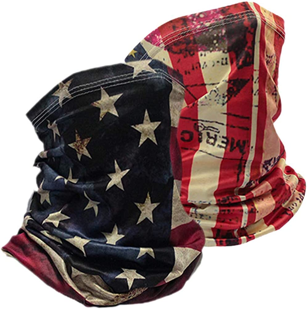 Rando Patriotic Neck Gaiter American Flag Face Mask Thin Breathable Cool Lightweight Scarf, Ideal for Summer Running
