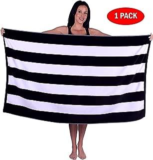 Turquoise Textile 100% Turkish Cotton Eco-Friendly Cabana Stripe Pool Beach Towel, 35x60 Inch (1 Pack, Black)