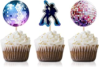 70s Disco Cupcake Topper Picks, 24-Pack Dance 1970s Birthday Party Decorations