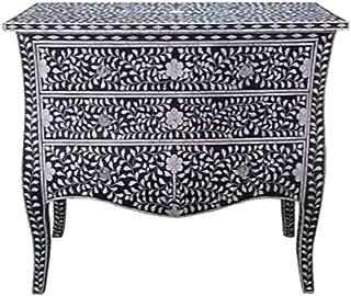 Bone Inlay Furniture - Black Moroccan Dresser Sideboard Three 3 Drawers & Curved Legs/CREDENZA
