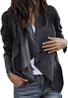 Misaky Women's 2018 Autumn Leather Open Front Short Cardigan Suit Jacket Work Office Coat