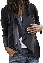 Misaky Women's 2018 Autumn Leather Open Front Short Cardigan Suit Jacket Work Office Coat