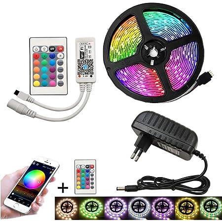 Luces Led Controlada Por La APP Del TeléFono Inteligente De Bluetooth Es Adecuada Para El Sistema De Android Y El De IOS El Conjunto De Equipo RGB 5 ...