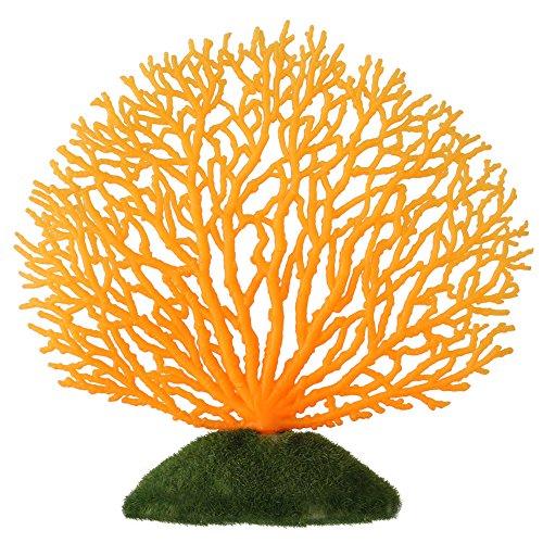 Adorno de coral artificial para plantas de coral, efecto brillante, decoración artificial de silicona, para acuario de peces, paisaje (naranja)