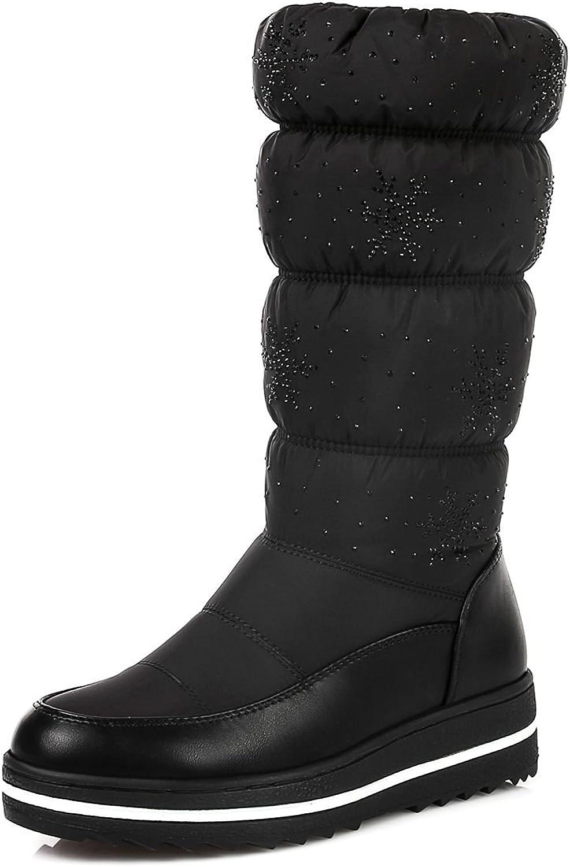 DoraTasia Puff Rhinestone Synthetic Low Heel Mid Calf Platform Slip on Women's Snow Boots