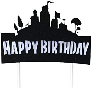 CraftsToCollect Happy Birthday Cake Topper, Birthday Cake Topper (7 x 6 Inches) for Video Game Party Favors Supplies Birthday Cake Decoration Party Supply