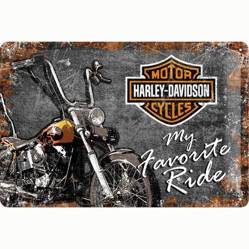 Nostalgic-Art Harley-Davidson – Favourite Ride – Geschenk-Idee für Motorrad-Fans, Retro Blechschild, aus Metall, Vintage-Dekoration, 20 x 30 cm