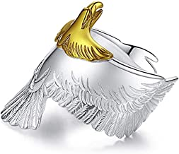 S925 Silver Eagle Ring Verstelbare Opening Finger Ring Retro Punk Eagle Ring Gift