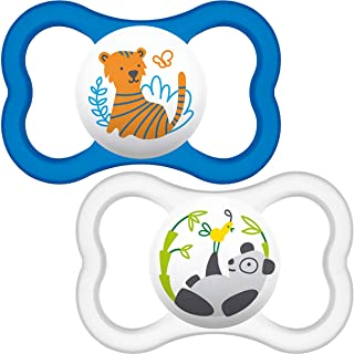 MAM Air Soothers 6+ Months (Pack of 2), Baby Soothers with Sterilisable Travel Case, Baby Essentials, Blue / White (Design...