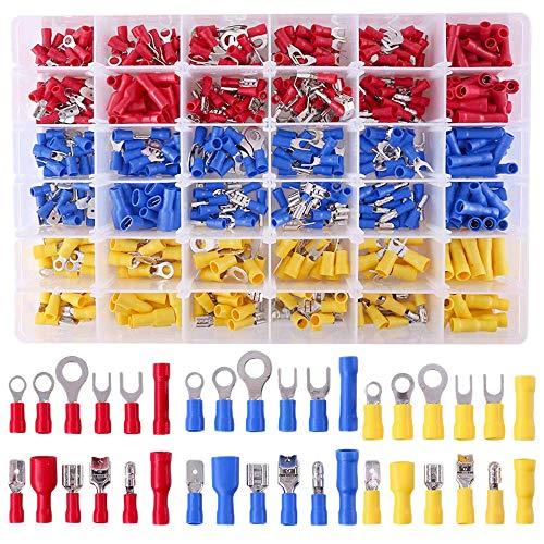 CUHAWUDBA 540 StüCke 22-16/16-14/12-10 Gauge Mixed Quick Disconnect Elektrisch Isolierte Sto?Spaten Gabel Ring L?Tfreie CrimpanschlüSse Steckverbinder Sortiment Kit