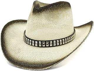 JAUROUXIYUJI New Women Men Western Straw Cowboy Hat Beach Hat Outdoor Seaside Holiday Sun Hat Visor Square Rivet Fashion (Color : 2, Size : 56-58CM)
