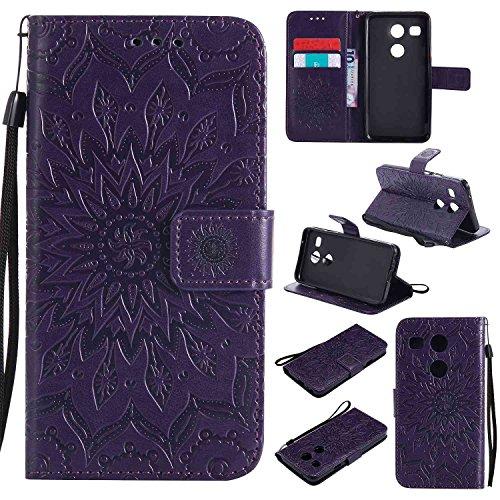 pinlu® PU Leder Tasche Etui Schutzhülle für LG Nexus 5X (5,2 Zoll) Lederhülle Schale Flip Cover Tasche mit Standfunktion Sonnenblume Muster Hülle (Lila)