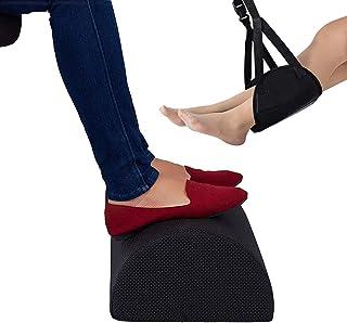 Footrest Feet Rest under Desk Ergonomic Non-Slip Design Memory Foam with Portable Travel Flight Carry-on Footrest Adjustab...