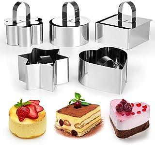 Gwhole 5 Pcs Moule Mousse Anneaux Cercle Moule à Cake Gâteau avec Poussoir en Acier Inoxydable Forme de Fleur Rond Coeur C...