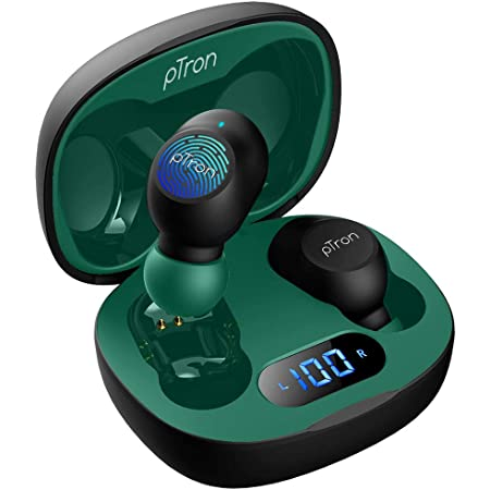 pTron Bassbuds Pro (New) In-Ear True Wireless Bluetooth 5.1 Headphones with Deep Bass, Low Latency Gaming Earphones, Touch Control, IPX4 Water/Sweat Resistance Earbuds & Built-in Mic - (Black & Green)
