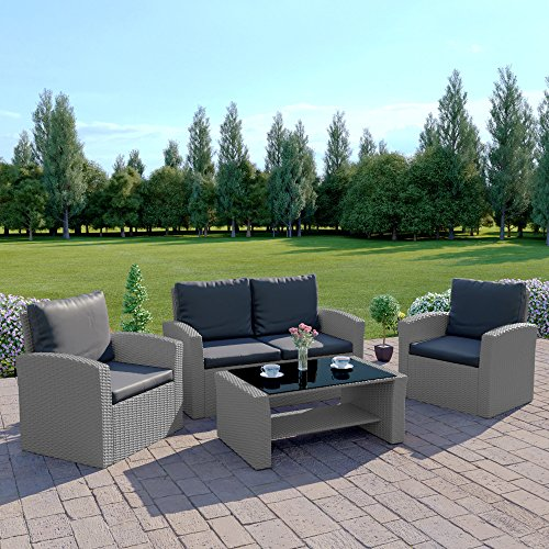 Abreo Rattan Garden Furniture Patio Conservatory New 4 Seater Wicker Weave Algarve Sofa Set (Solid Light Grey and Dark Cushions) INCLUDES OUTDOOR WATERPROOF PROTECTIVE COVER